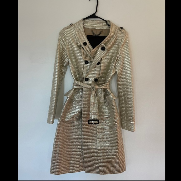 Burberry Prorsum Metallic Jacquard Coat